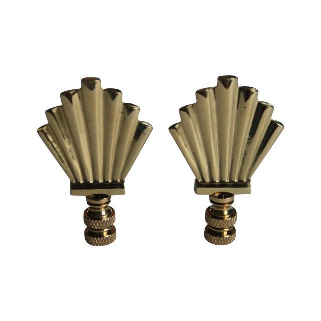 Brass Art-Deco Style Fan Finials - A Pair - Image 1 of 3