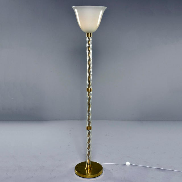Murano Glass and Brass Floor Lamp For Sale - Image 11 of 11