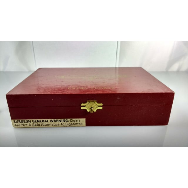 Red & Gold Sancho Panza Wood Cigar Boxes - Pair For Sale - Image 5 of 11