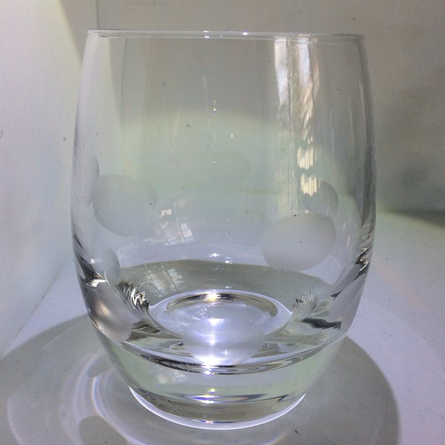 Mid-Century Modern Style Crystal Roly Poly Heavy Bottom Whiskey Glasses With Etched Polka Dots - Set of 6 For Sale - Image 13 of 13