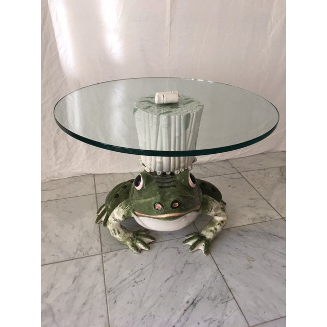 What could be cuter than this little frog and bamboo glass top table! Circa 1960's, hand painted, pristine condition....