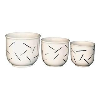 Vintage Strehla Ceramic Pots - Set of 3 For Sale
