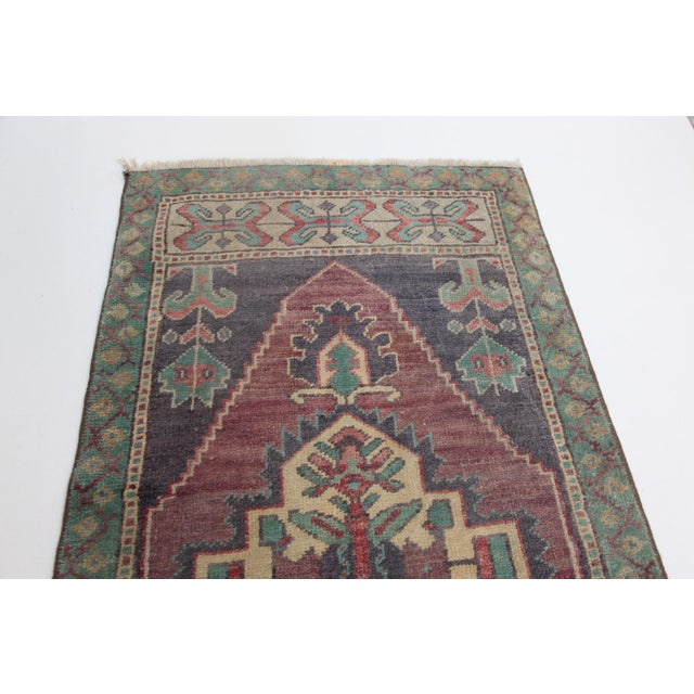 Islamic 1960s Vintage Turkish Handmade Rug - 1′8″ × 3′1″ For Sale - Image 3 of 11
