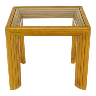 Solid Blond Birch Rectangular Occasional Side Table Stand For Sale