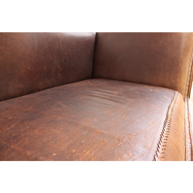 Chippendale Mahogany Chippendale Bench Sofa - Cape Buffalo Leather For Sale - Image 3 of 12