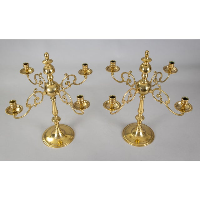 Antique English Brass Candelabra, Pair For Sale - Image 4 of 8