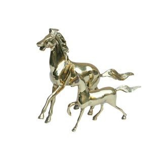 Galloping Brass Horses, a Pair For Sale