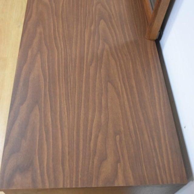 Bassett Mid-Century Walnut Dresser & Mirror For Sale - Image 7 of 11