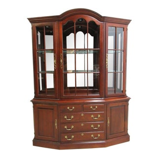 Pennsylvania House Cherry Chippendale Dome Top China Cabinet Hutch Breakfront