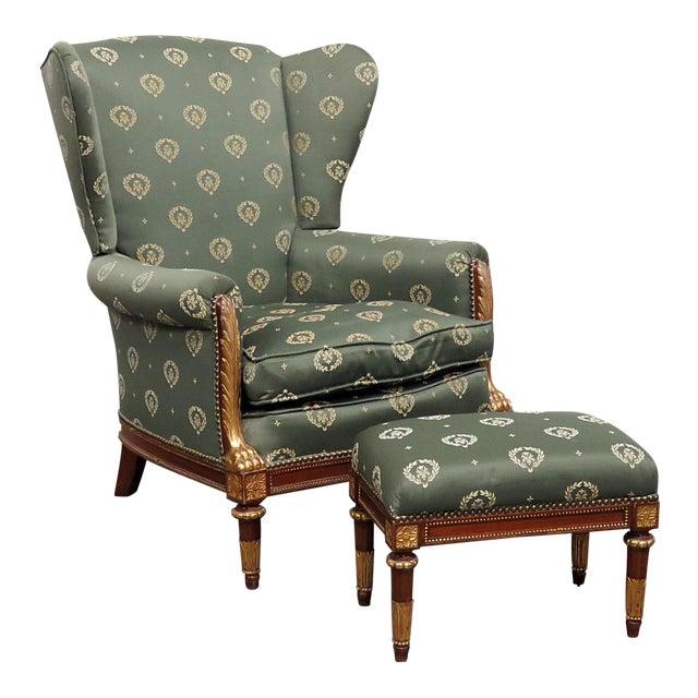 Jansen Regency Style Chair & Ottoman - A Pair For Sale