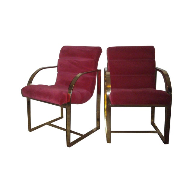 M. Baughman Cherry Velvet & Brass Chairs- A Pair - Image 1 of 8