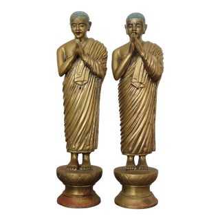 Large Rare Antique Buddha Disciple Statuettes - a Pair