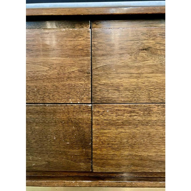 Mid-Century Modern McCobb Cabinet With Glass Top Brass Frame and Caning For Sale - Image 11 of 13