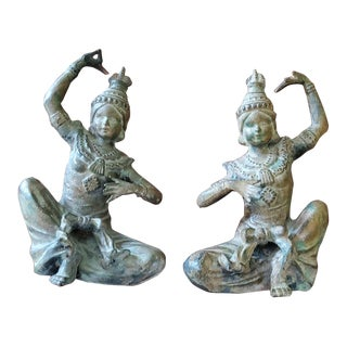 Vintage Thai Mid Century Dancer Figures, Bronze With Green Patina - a Pair For Sale