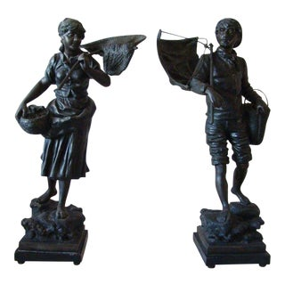 Late 19th Century Continental Spelter Figures by Rousseau - A Pair For Sale