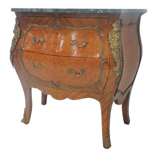 French Style Parquetry Inlaid Marble Top Commode