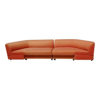 Large Mid Century Two Piece Sectional Couch For Sale