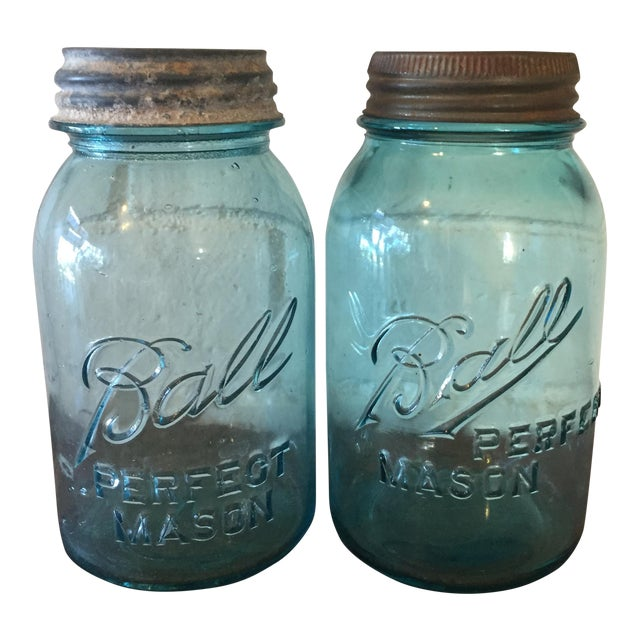 Vintage Blue Ball Mason Jars - A Pair - Image 1 of 11