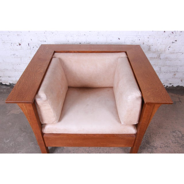 Stickley Mission Prairie Armchair With Tan Leather Upholstery For Sale In South Bend - Image 6 of 13