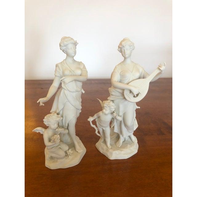 Antique Parian Porcelain Bisque Musician Maidens -Pair For Sale - Image 11 of 11