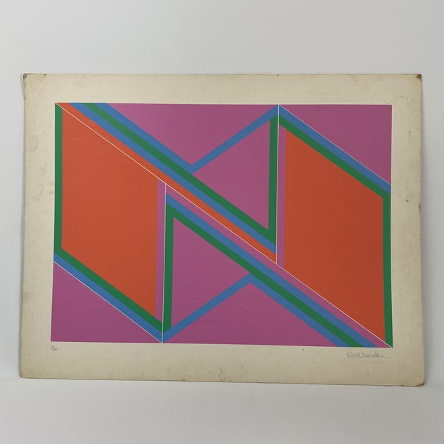 """1970s David Leverett Signed and Numbered """"Untitled"""" Serigraph Unframed For Sale - Image 13 of 13"""