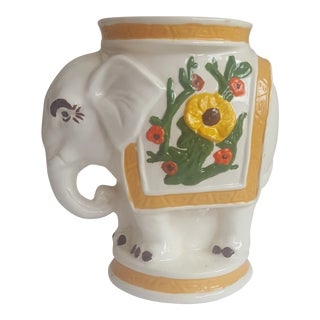 Vintage Regency Ceramic Elephant Candle Holder For Sale