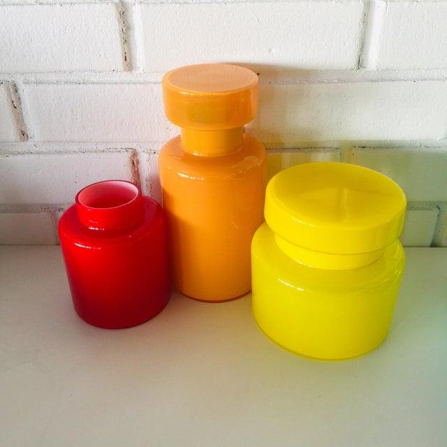 1960s Rainbow Empoli Cased Glass Jars - Set of 7 For Sale - Image 5 of 11
