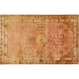 Late 19th Century Asian Pink and Salmon Wool Khotan Rug - 5'1''x8'2'' For Sale