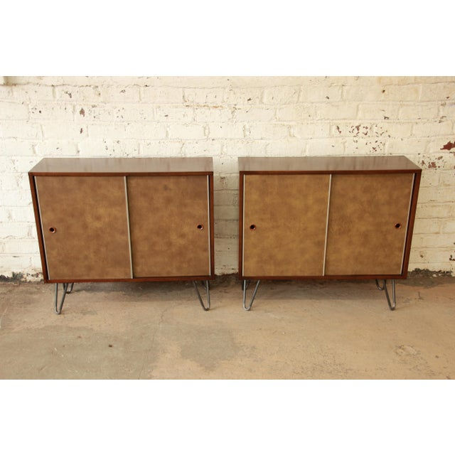 Paul McCobb for Calvin Small Cabinets on Hairpin Legs- a Pair - Image 3 of 9