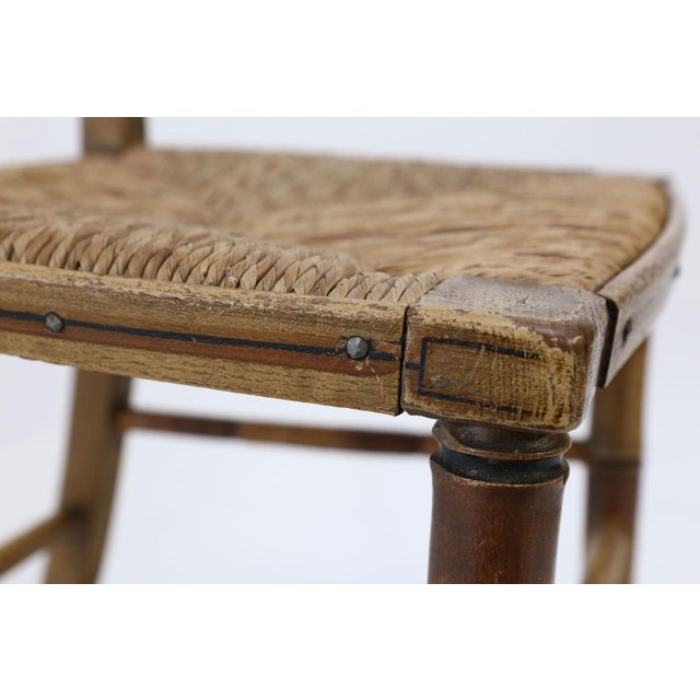 Brown Pair of Faux Bamboo Side Chairs For Sale - Image 8 of 11