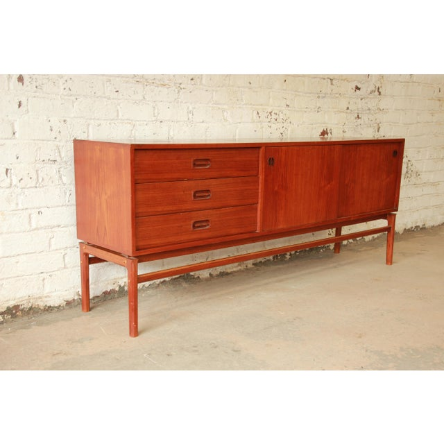Contemporary Danish Modern Teak Long Sideboard Credenza For Sale - Image 3 of 11