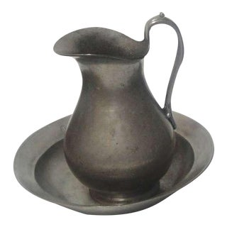 Monumental Pewter Pitcher and Bowl Dated 1760 For Sale