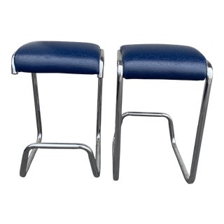 1980s Vintage Chrome Floating Counter Stools - a Pair For Sale