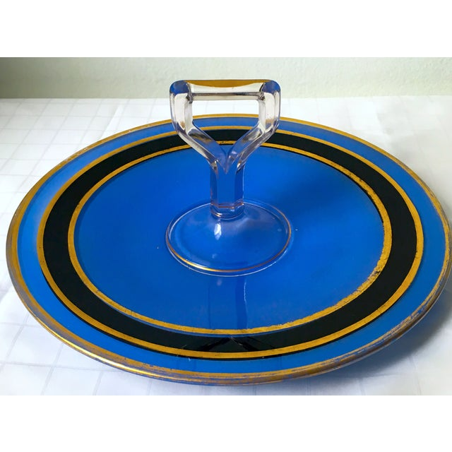 Mid-Century Blue Glass Handled H'ordeuvres Server - Image 3 of 4