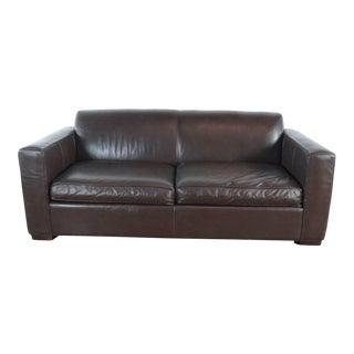 Room & Board Brown Leather Sleeper Sofa For Sale