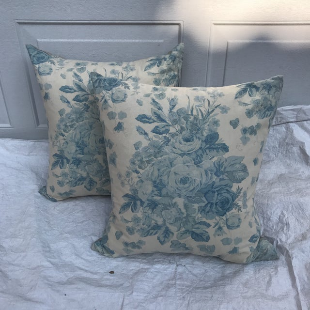 """Custom pair of pillows made with vintage Ralph Lauren textile """"Faded Bouquet"""" patterned in large floral faded roses...."""
