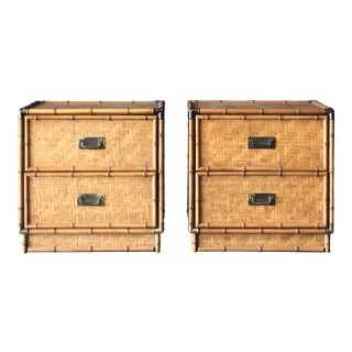 Two Drawer Bamboo and Rattan Campaign Style Nightstand Side Tables - a Pair For Sale
