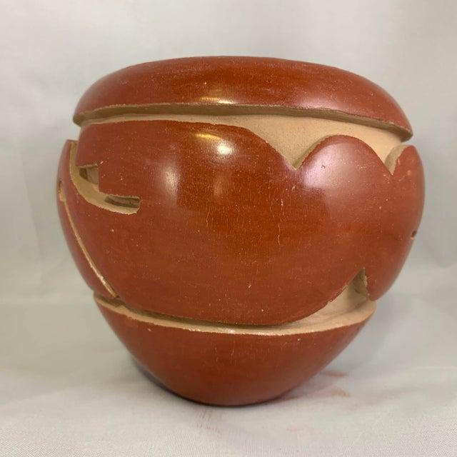 Southwest Mida Tafoya Redware Jar With Carved Avanyu Design For Sale - Image 10 of 13