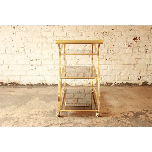 Milo Baughman for DIA Brass and Glass Bar Cart - Image 8 of 11