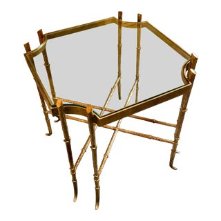 French Bagues Style Gilt Wrought Iron Side Table For Sale
