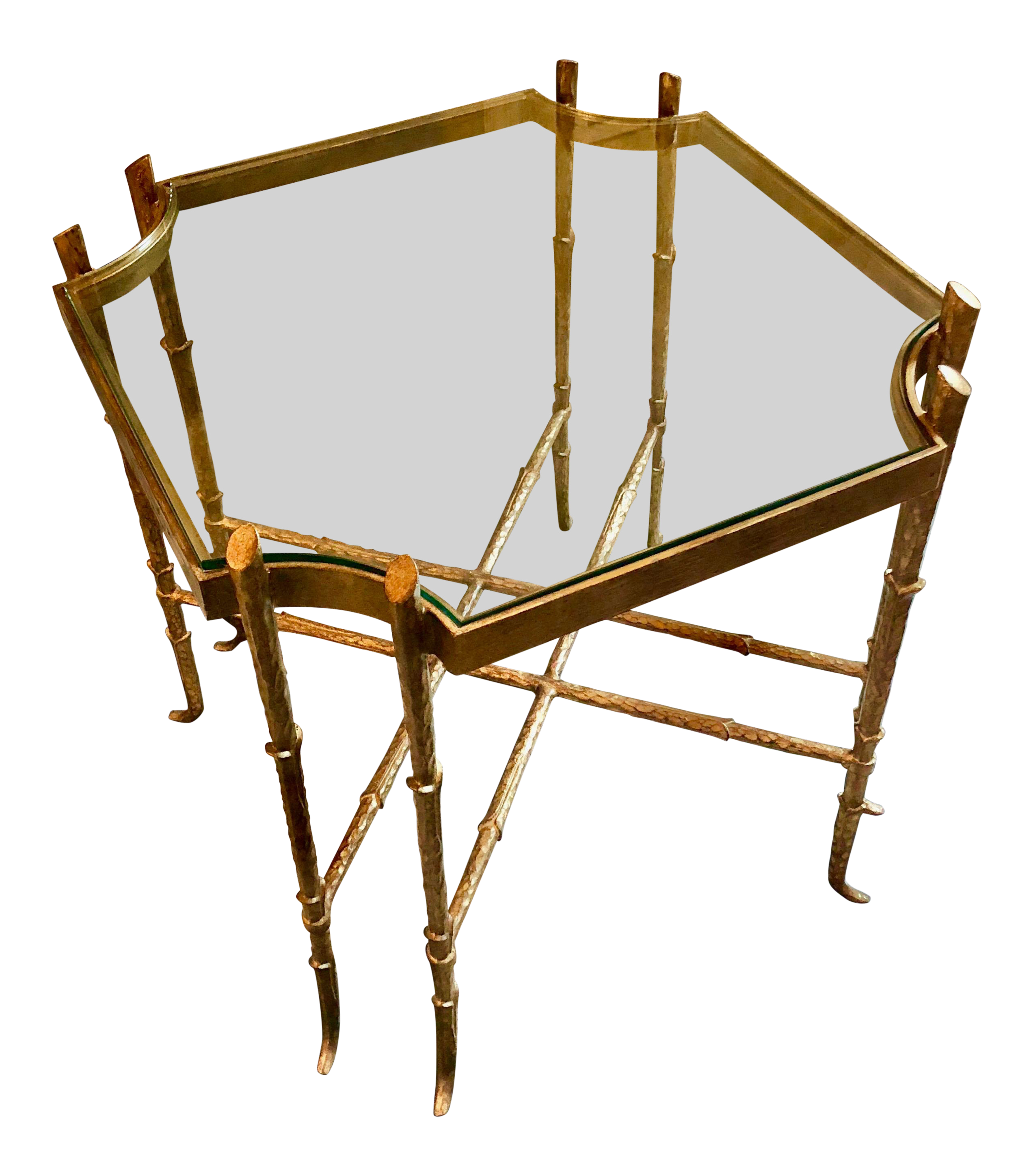 Hollywood Regency Gilt Wrought Iron Side Table