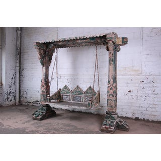 18th Century Ornate Carved Indian Jhula Bench Swing Preview