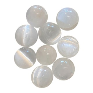 Selenite Crystal Spheres - Set of 9 For Sale
