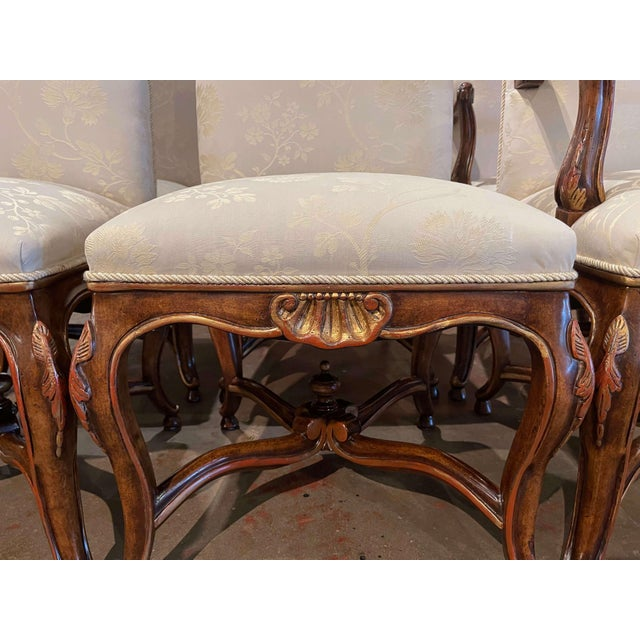 Set of Eight Louis XV Style Carved Walnut Dining Chairs From Minton-Spidell For Sale - Image 10 of 13