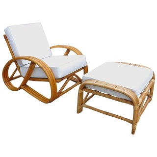 3/4 Round Pretzel Rattan Lounge Chair with Ottoman For Sale
