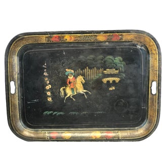England Chippendale Large Hand Painted Black Horse Rider Tole Tray For Sale