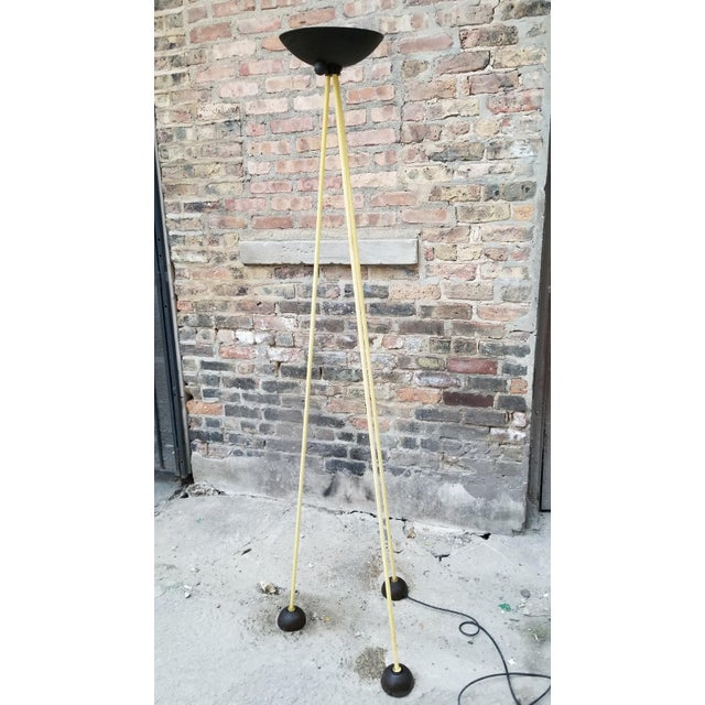 Vintage Post Modern Tripod Halogen Floor Lamp in the Style of Memphis by Koch and Lowy in Black and Yellow Black and...