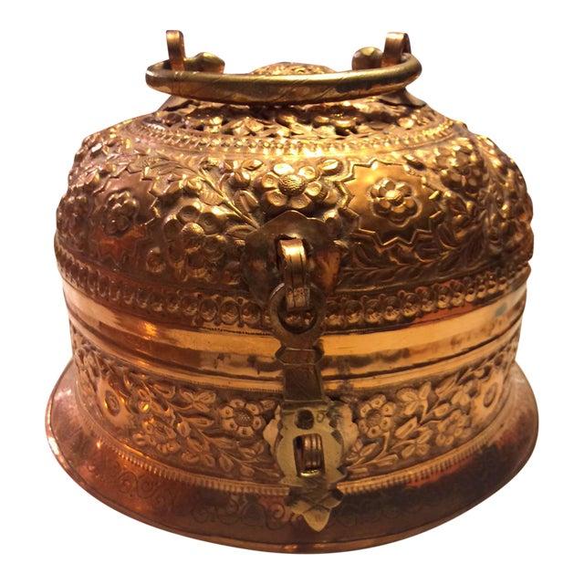 Antique Copper Repousse Paan Dan Box For Sale