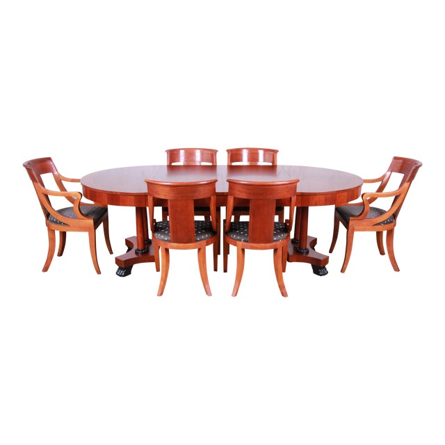 Baker Furniture Palladian Collection Neoclassical Cherry Wood Dining Set For Sale