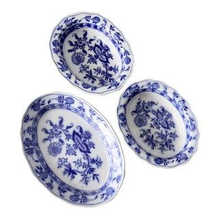 Antique Meissen England Blue Onion Serving Dishes - Set of 3 For Sale